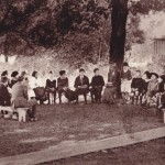 Like many early activities at Unquowa, this community meeting was held outdoors.