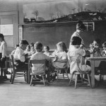 Serving snack in a Lower School classroom in the 1920s