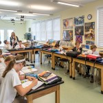 Right upstairs from all that creativity is our Upper School science classroom where in-depth instruction is enriched...